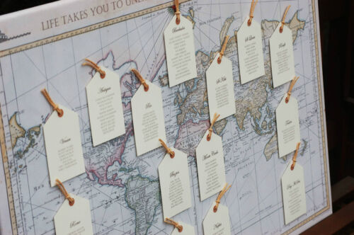 Maps Wedding Table Plan ANTIQUE// VINTAGE LUGGAGE TAGS LARGE seating