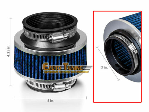 """3/"""" Inlet 76mm Cold Air Intake Universal Bypass Valve Filter BLUE For Lexus"""