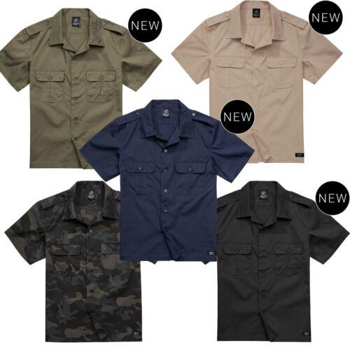 Brandit Ripstop Hombres Camisa Manga Corta Army Militar Ejército Vintage