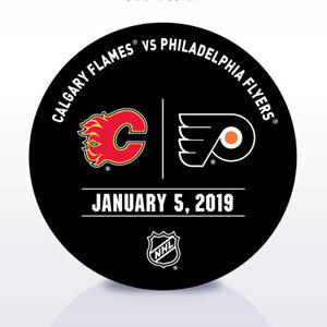 Philadelphia-Flyers-Issued-Unused-Warm-Up-Puck-1-5-19-Vs-Calgary-Flames