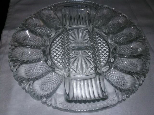Vintage L. E. Smith Heritage Amber Glass Deviled Egg Plate ~Relish Tray FREE S/H
