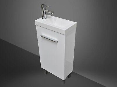 Bathroom Vanity Unit Compact 400mm Polyurethane Freestanding + Poly Marble Basin
