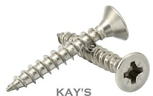 3mm 4g POZI COUNTERSUNK CHIPBOARD WOOD SCREWS FULLY THREADED A2 STAINLESS STEEL