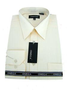 New Mens Ivory Long Sleeve Dress Shirts Ebay