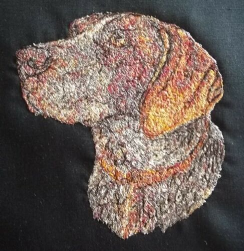 """Embroidered Quilt Block Panel /""""2nd Pointer Dog/"""" Black Linen Fabric"""
