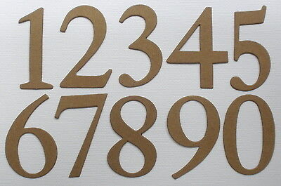 "Raw Bare Natural Chipboard Die Cuts ELEGANT NUMBERS 2/"" 22 Pieces"