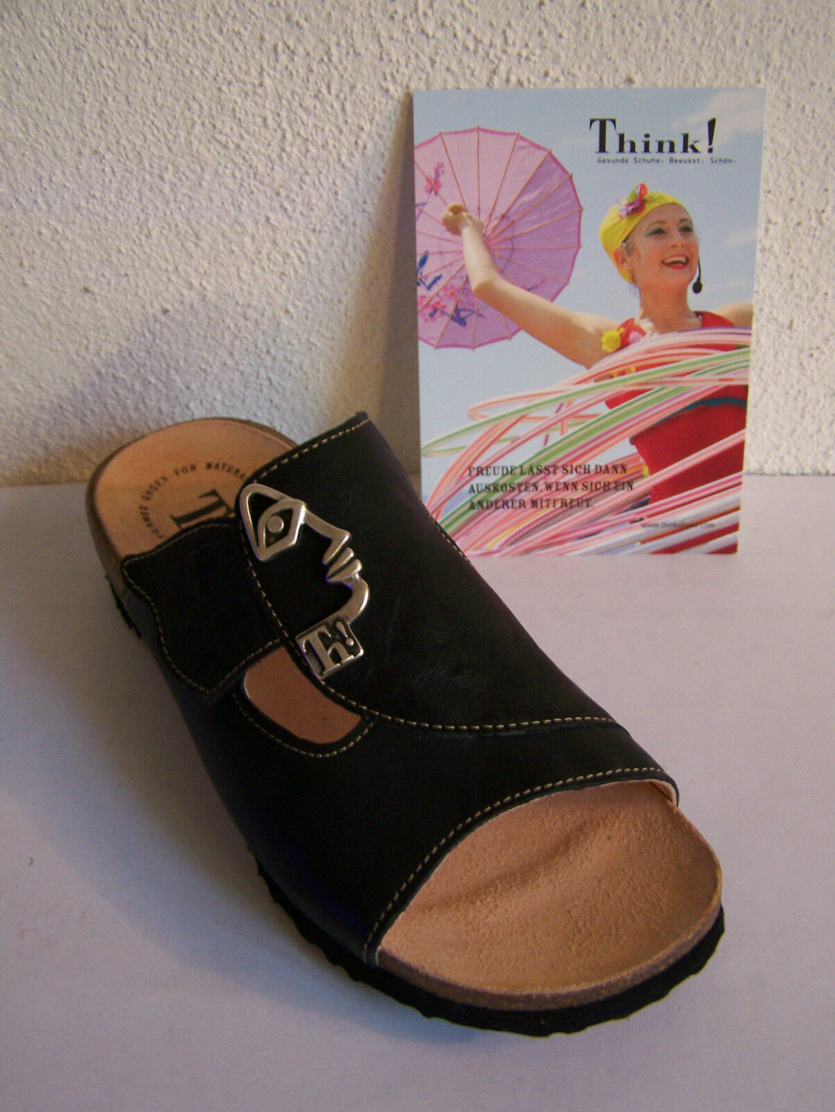 Think   Pantolette Klettverschluß Modell Mizzi schwarz  Klettverschluß Pantolette incl. Baumwollbeutel 39227f