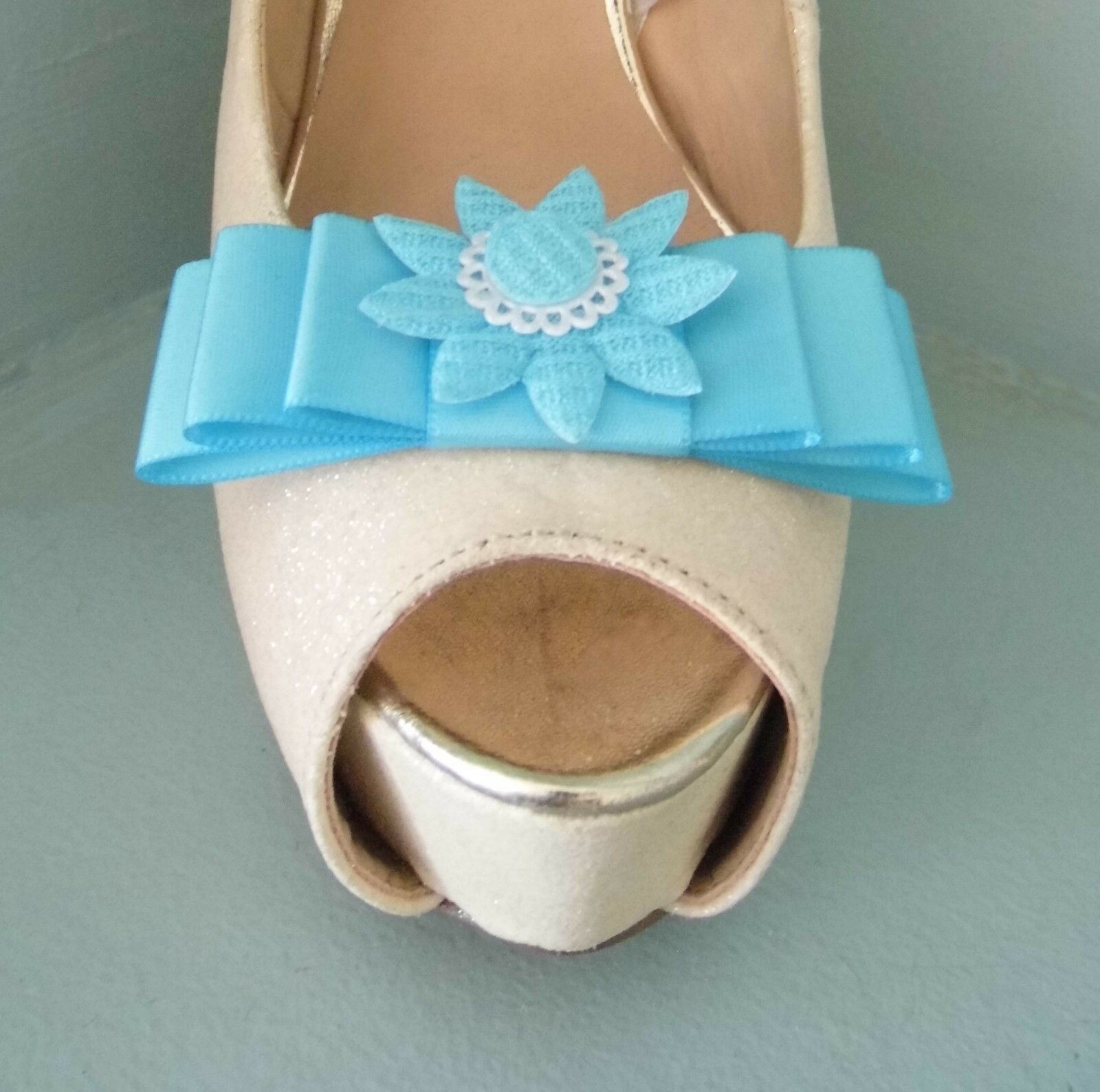 2 Turquoise Bow Clips for Shoes with Crochet Style Flower Centre