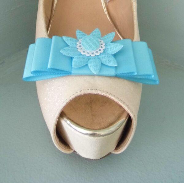 2 Turchese Con Fiocco Clip Per Scarpe Con Stile All'uncinetto, Centro Di Fiori Materiali Di Alta Qualità Al 100%