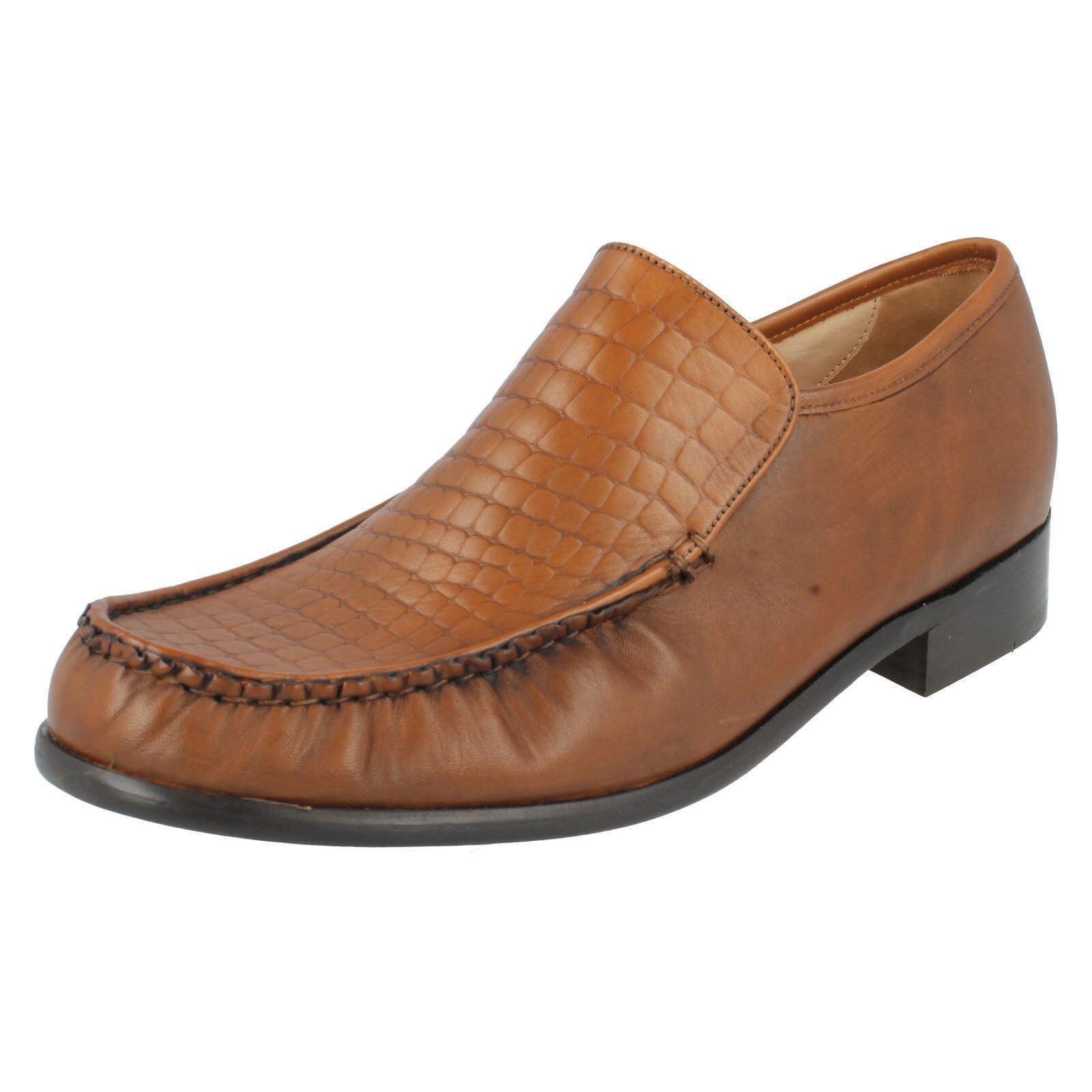 Mens Tan Leather Grenson Slip On Formal shoes Montana