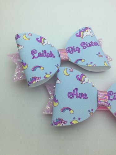 Or Cousins ANY NAME 2 X Glitter Bows SISTERS BOW BUNDLE Unicorn Hair Bow
