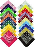 Lot Of 12 Paisley Print Scarf Bandana 100% Cotton 1 Dozen 12 Colors Wholesale