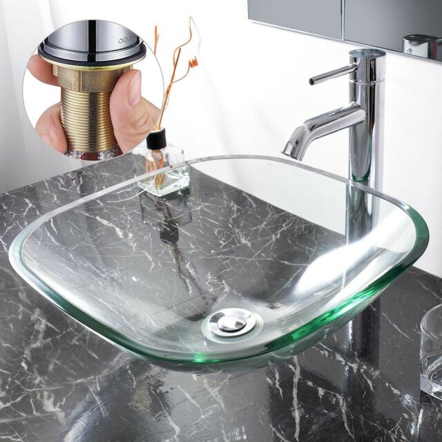Bathroom Tempered Glass Vessel Sink Natural Clear Square W Faucet Drain Combo For Sale Online Ebay
