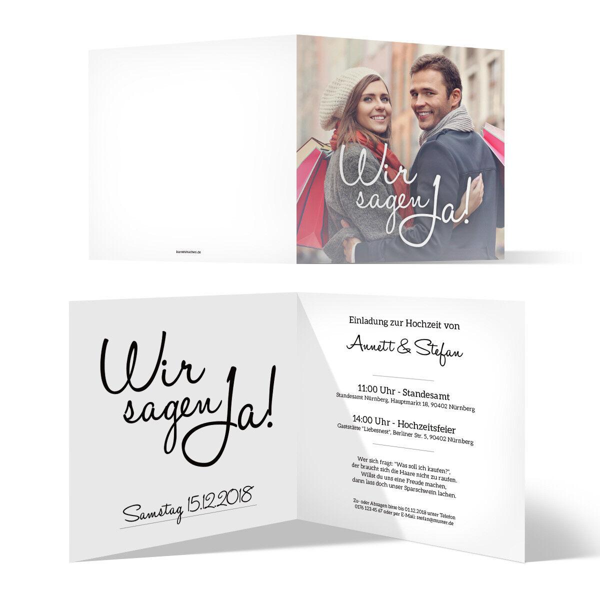 Hochzeit hochzeit hochzeit einladungskarten hochzeitseinladungen quadrat klappkarte wir sagen ja c91ba0