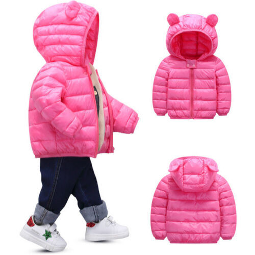 Kids Toddler Baby Boy Girl Winter Warm Cotton Down Hooded Coat Jacket Outwear US