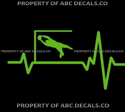 VRS Heart Beat Line SOCCER GOALIE Saving Goal Ball Left Corner CAR VINYL DECAL