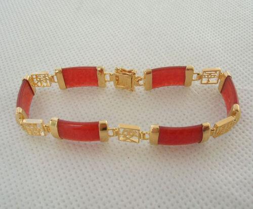 Natural Multicolor Jade 18K Gold Plated Gemstone Fortune Lucky Link Bracelet