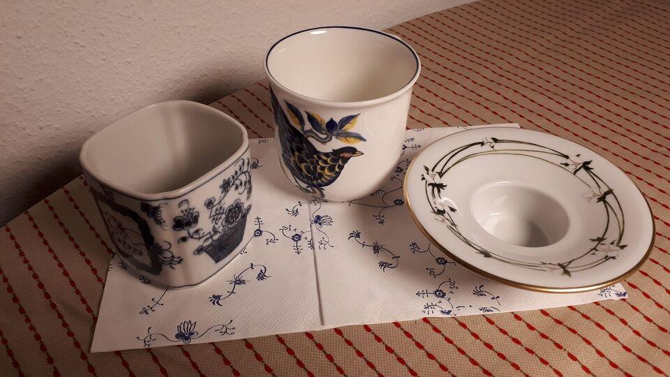 Porcelæn, Vase tekop og lysestage, Royal copenhagen kgl