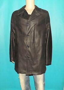 manteau KENZO homme en cuir de veau noir avec doublure amovible taille XL