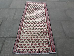 Vintage-Traditional-Hand-Made-Oriental-Wool-Red-Pink-kilim-Long-Runner-198x91cm