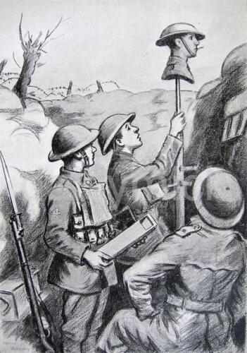 Spotting the Enemy Sniper Ernest Blaikley 1920 World War 1 7x5 Inch Print  R