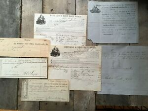 7-Antique-Documents-1845-1897-Railway-Lot-Railroad-Papers-VTG-Old