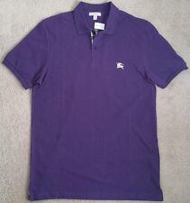 New BURBERRY BRIT polo shirt nova check purple equestrian knight t tee nr M NWT