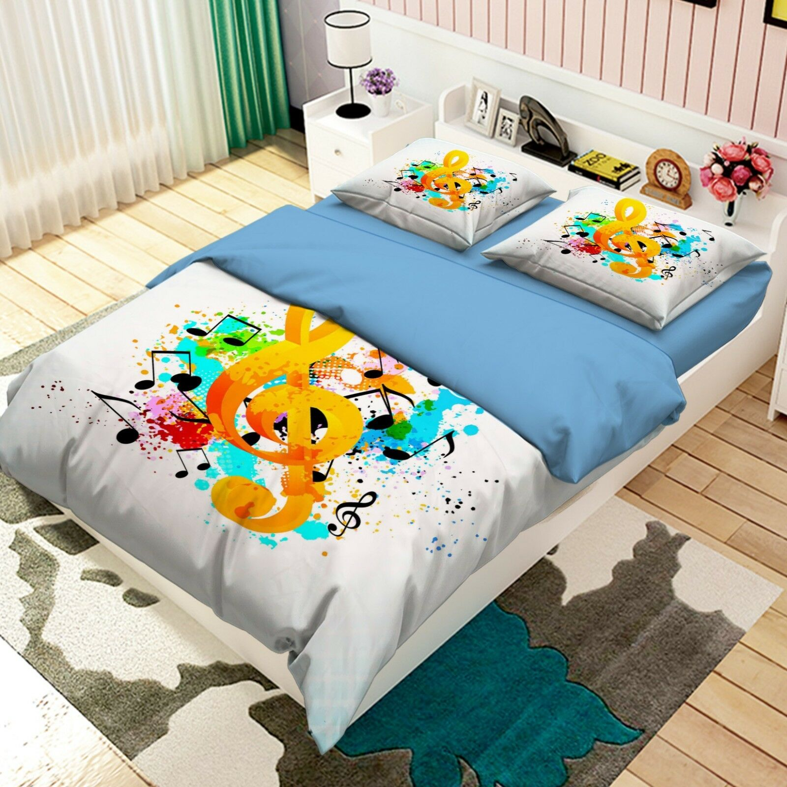 3D Musical Note 575 Bed Pillowcases Quilt Duvet Cover Set Single Queen AU Carly