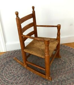 Fine Details About Rare Antique Maple Shaker Wooden Ladder Back Cane Seat Youth Rocking Chair 1920 Lamtechconsult Wood Chair Design Ideas Lamtechconsultcom