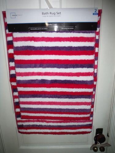 New Mainstays 2 Pc Plush Microfiber Bath Rug Set Pink Purple White Stripe