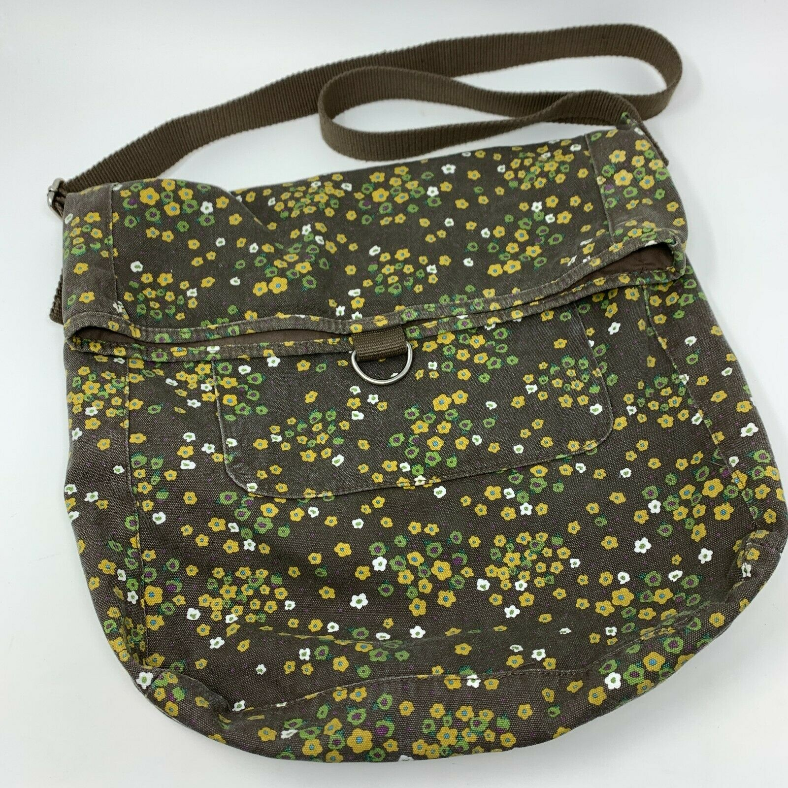 Target Women's Gray Floral Fold Over Large Crossbody Canvas Bag Purse Tote