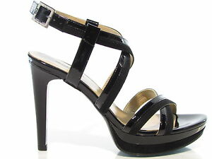 Nero Giardini 7871 sandali donna elegante tacco 11cm doppio plateau vernice nero