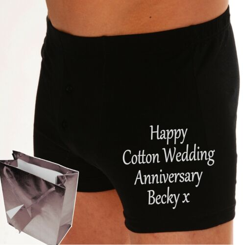Details about  /PERSONALISED boxer shorts Cotton Wedding 2nd Anniversary 2YRS DOWN FOREVER TO GO