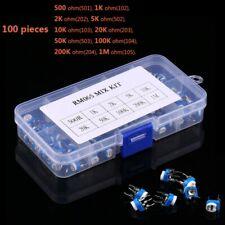 100potentiometer Trimpot Variable Resistor Assortment Box Kit Set 500ohm 1m Ohm