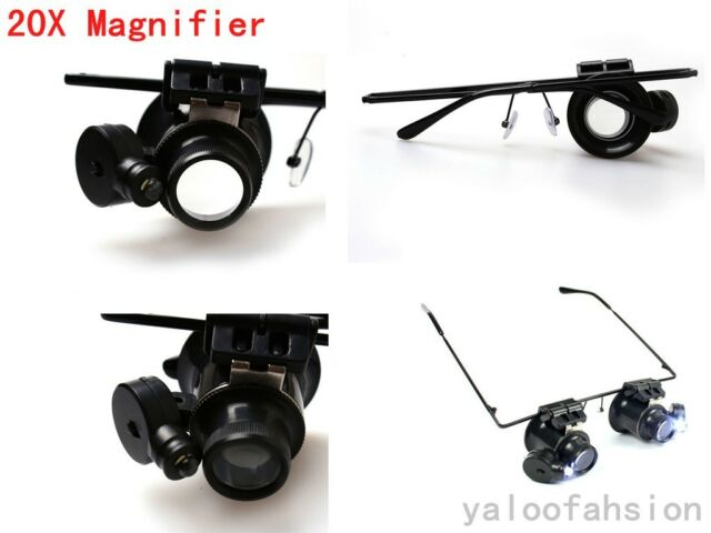 New Black 20X Magnification Glasses Type Watch Repair Magnifier with LED Light