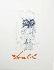 OWL Wall Decor Salvador Dali Vintage Fine Art Lithograph1968 - The Blue Owl Gift