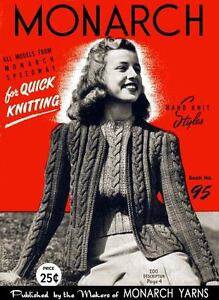 Monarch-95-c-1946-Stylish-Vintage-Knitting-Patterns-For-Women-039-s-40-039-s-Fashions