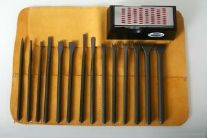 Italian-Stone-Carving-Fire-Sharp-Carbon-Steel-16pc-Full-Chisel-Set-w-Sharpener
