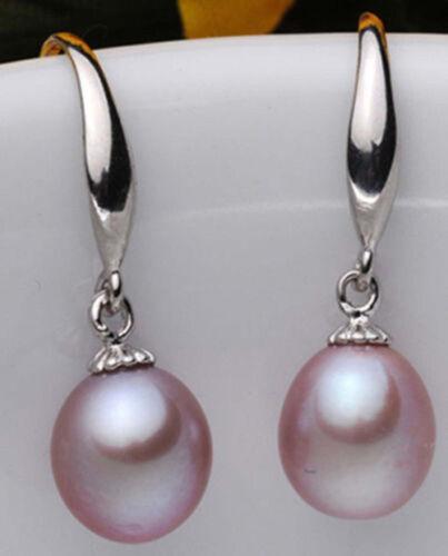 6-7mm Natural purple Cultured Pearl Drop//Dangle Earrings JE278