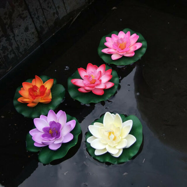 Artificial Fake Lotus Water lily Floating Flower Garden Pool Plant Ornament Top