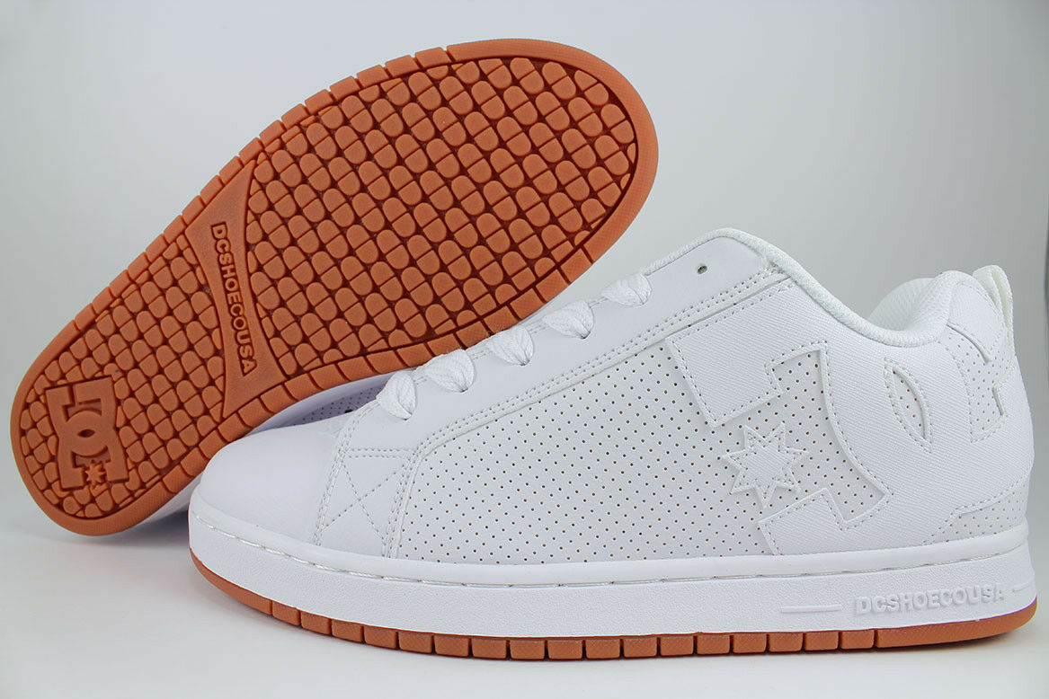 DC COURT GRAFFIK TRIPLE WHITE/GUM 300529 HWG SKATE SKATE SKATE LEATHER PERF US Uomo SIZES 7d2be1