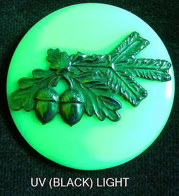 Unique Czech Vaseline/Uranium Glass/Brass Button (1pc)#D146 - RARE MOTIF!!!!!!!!