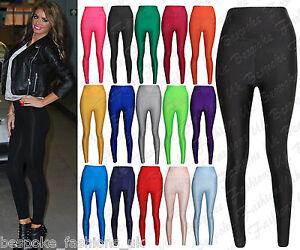 Womens-Ladies-American-High-Waisted-Disco-Shiny-Wet-Look-Leggings-PVC-Pants-6-14
