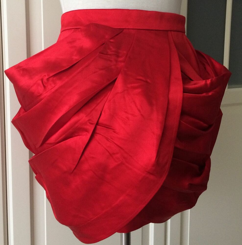 Balmain X H&m Rock Drapée Soie Rouge Skirt Silk Red Eur 40 Size Us 10 Uk 14