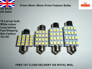 Car-Festoon-31-41mm-Led-Smd-c5w-sv8-5-Lamp-Light-Bulbs-Interior-Hid-White-12v-UK