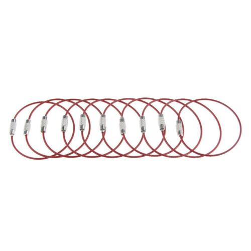 40x Stainless Steel Wire Keychain Cable Ring Outdoor Luggage Tag Loop Rope