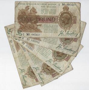 John Bradbury £1 Pound Treasury Banknote 1917 Well Circulated Condition T16 WWI