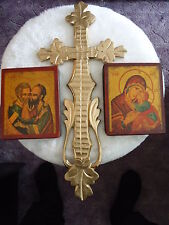 Virgin Kissing Child und Apostel Peter& Paul 1600 - russische Ikonen + Holzkreuz