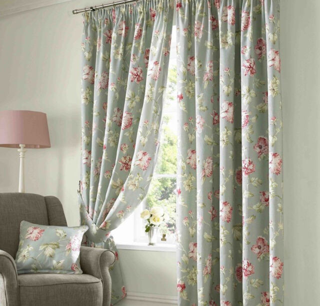 FLORAL SORBET FULLY LINED CURTAINS.9 SIZES + TIES & CUSHION COVERS AVAILABLE