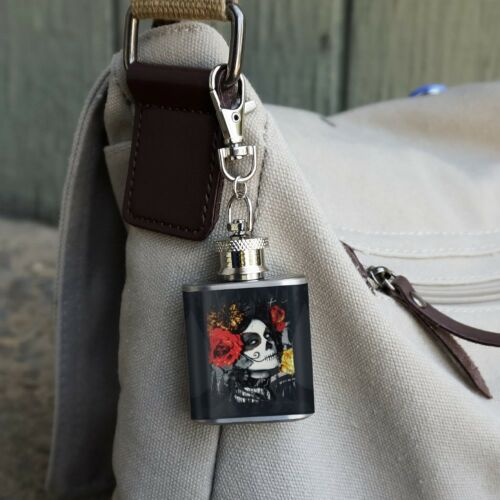 Dia de los Muertos Day of the Dead Woman Tattoo Stainless Steel Flask Key Chain